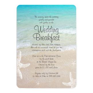 Invitación tropical del desayuno del boda de playa