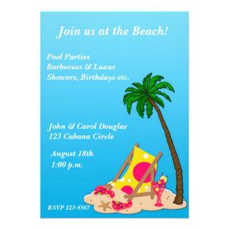 Invitación tropical del fiesta de la playa
