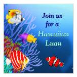 Invitación tropical del fiesta de los pescados del invitación 13,3 cm x 13,3cm