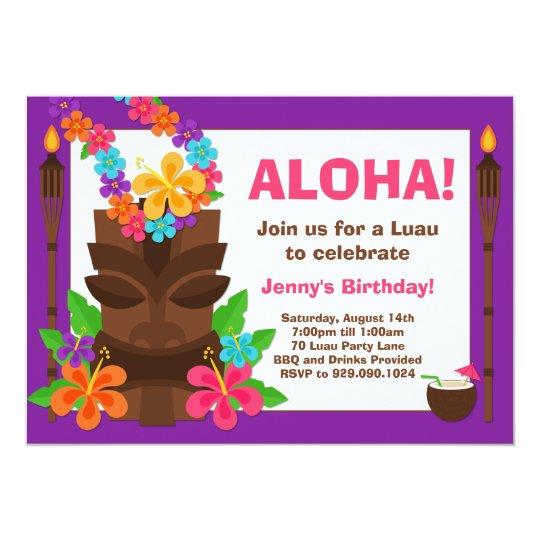 Invitación tropical del fiesta de Luau