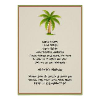 Invitación tropical del fiesta de Luau de la palme