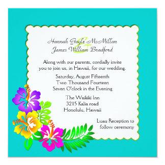 Invitación tropical hawaiana colorida del boda