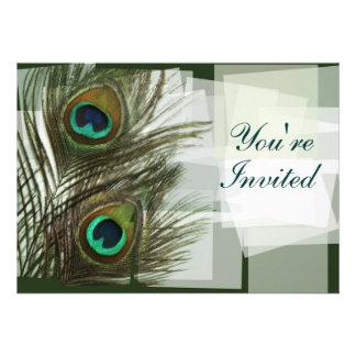 Invitación única de la pluma del pavo real