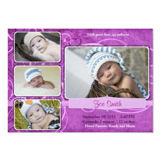 Invitación única de lujo púrpura del nacimiento de