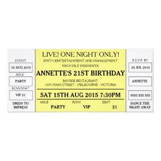 Invitación única del cumpleaños (boleto del