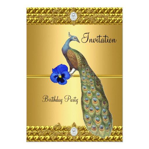 Invitación única y elegante del oro y del pavo