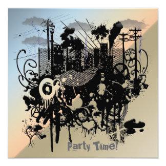 Invitación urbana del fiesta del caos