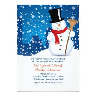 Invitación urbana del muñeco de nieve invitación 12,7 x 17,8 cm