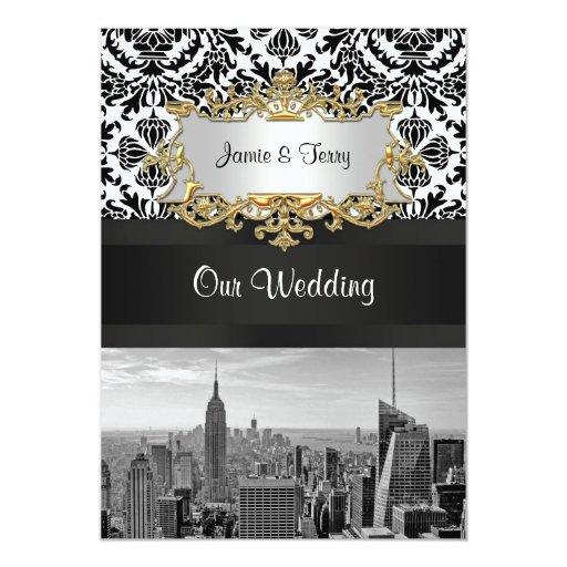 Invitación V del boda del damasco de BW 431 del
