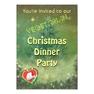 Invitación vegetariana de la cena de navidad