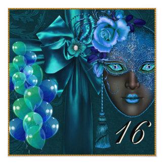Invitación veneciana del dulce 16 de la máscara de