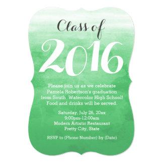Invitación verde 2016 de la fiesta de graduación