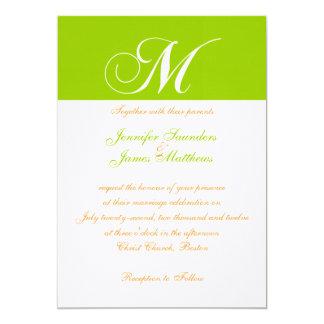 Invitación verde anaranjada elegante del boda del invitación 12,7 x 17,8 cm