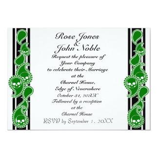 Invitación (verde) anversa del boda