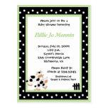 Invitación verde blanca de la fiesta de bienvenida tarjeta postal