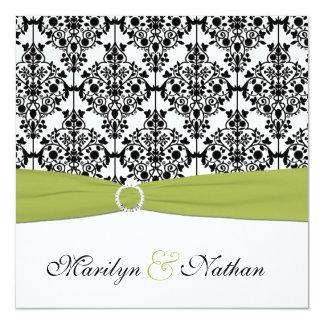 Invitación verde, blanca y negra del boda del
