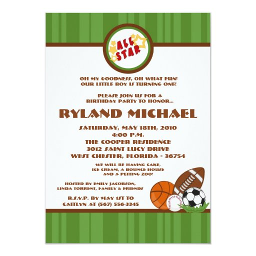 invitación verde de 5x7 All Star Birtyhday