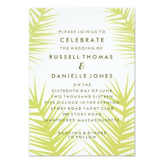 Invitación verde de color caqui tropical del boda