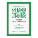 Invitación verde de la cena de las Felices Navidad