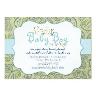 Invitación verde de la ducha del bebé de Paisley