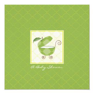 Invitación verde de la ducha del carro de bebé de invitación 13,3 cm x 13,3cm