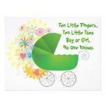 Invitación verde de la fiesta de bienvenida al beb