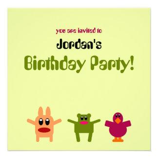 Invitación verde de la fiesta de cumpleaños de los