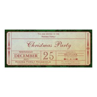Invitación verde de la fiesta de Navidad Invitación 10,1 X 23,5 Cm