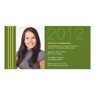 Invitación verde de la foto de la graduación de la tarjetas fotográficas personalizadas