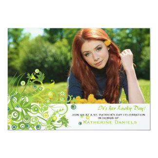 Invitación verde de la foto del ramo