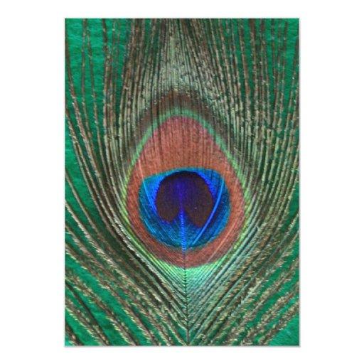 Invitación verde de la pluma del pavo real