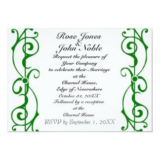 Invitación (verde) de marfil del boda de la invitación 12,7 x 17,8 cm