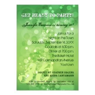 Invitación verde de moda del fiesta de Bokeh