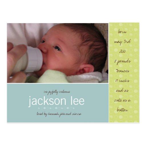 Invitación verde del bebé del punto postal