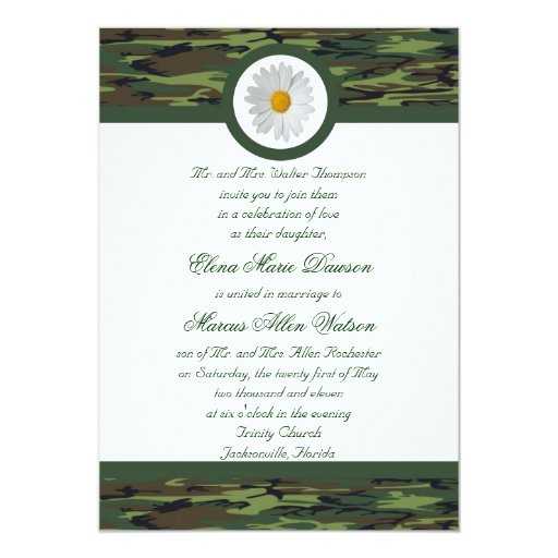 Invitación verde del boda de Camo