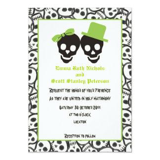 Invitación verde del boda de Halloween de los Invitación 12,7 X 17,8 Cm