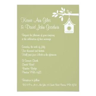 Invitación verde del boda de la casa del pájaro