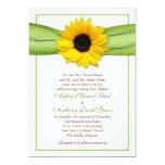 Invitación verde del boda de la cinta del girasol