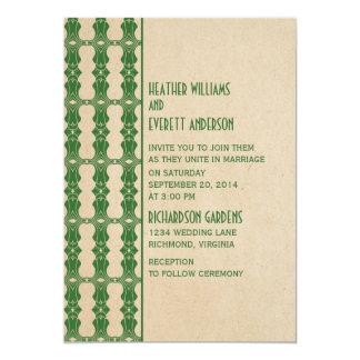 Invitación verde del boda de la frontera del art