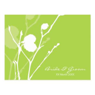 Invitación verde del boda de la ramita postal