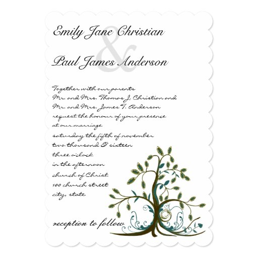 Invitación verde del boda del árbol de Brown del