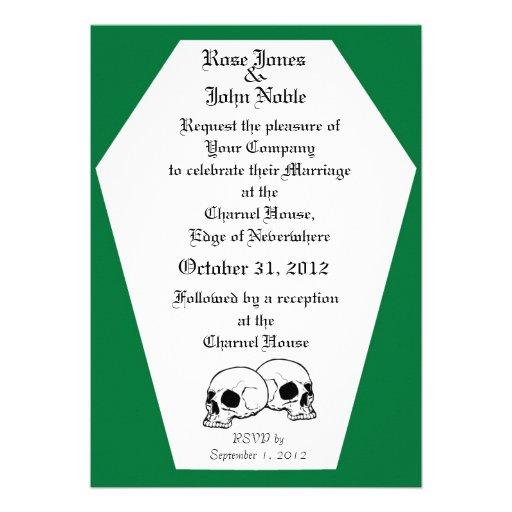Invitación (verde) del boda del ataúd