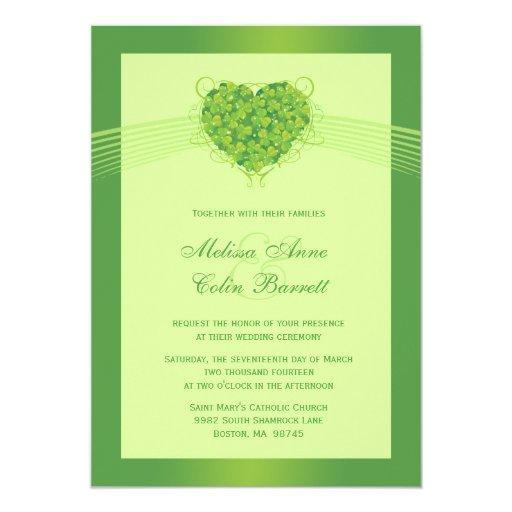 Invitación verde del boda del corazón de los invitación 12,7 x 17,8 cm