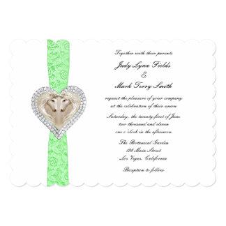 Invitación verde del boda del cordón del unicornio