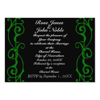 Invitación (verde) del boda del ébano de la