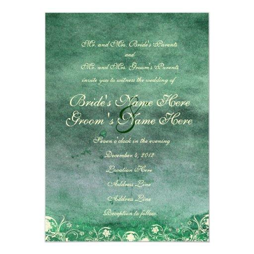 Invitación verde del boda del Grunge de la Invitación 12,7 X 17,8 Cm