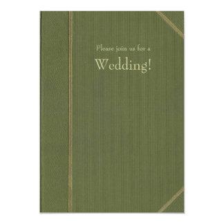 Invitación verde del boda del libro del vintage