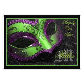 Invitación verde del boda del renacimiento de la m