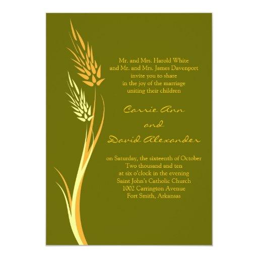 Invitación verde del boda del trigo del otoño invitación 12,7 x 17,8 cm