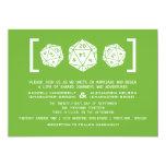 Invitación verde del boda del videojugador de los invitación 12,7 x 17,8 cm